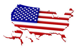 USA, map with flag, clipping path included, 3d. Illustration, isolated on white Royalty Free Stock Images
