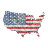 USA Map flag with Dollars Stock Photos
