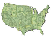 USA Map flag with Dollars Royalty Free Stock Photo