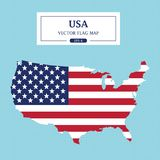 USA Map Flag Full Color High Detail Royalty Free Stock Image