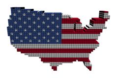 USA map flag made of containers Royalty Free Stock Image