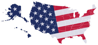 USA Map Flag Royalty Free Stock Photography