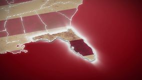 USA map, Florida pull out, all states available. Red background. Stock footage stock footage