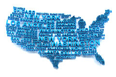 USA map formed by names of major cities Royalty Free Stock Image
