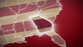 USA map, Georgia pull out, all states available. Red background. Stock footage stock footage