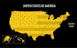 Usa map gold Stock Photo