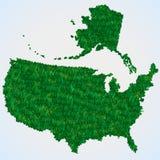 USA map from grass Stock Photos
