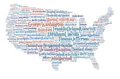 Usa map great people. The USA map made with the names ot the most influential figures in American history. The list has been written by 10 eminent historians royalty free illustration