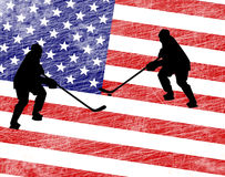 Usa map hockey Royalty Free Stock Photo