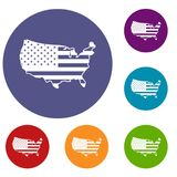 USA map icons set Stock Images