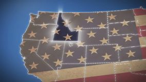 USA map, Idaho pull out, all states available. Blue background. Stock footage stock video