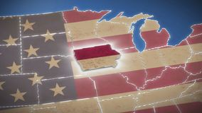 USA map, Iowa pull out, all states available. Blue background. Stock footage stock footage