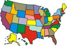 USA map isolated Royalty Free Stock Photo
