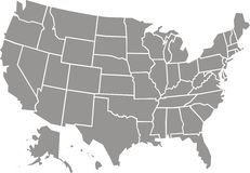 USA map isolated. On the white background Stock Photos