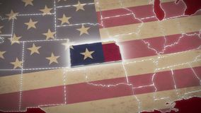 USA map, Kansas pull out, all states available. Red background. Stock footage stock footage