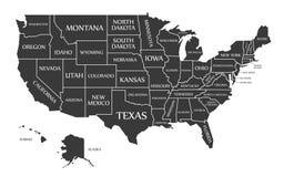 USA Map labelled black. Illustration Stock Photography