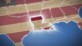 USA map, Louisiana pull out, all states available. Blue background. Stock footage stock footage