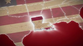 USA map, Louisiana pull out, all states available. Red background. Stock footage stock video footage