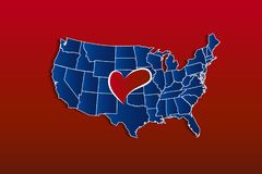 USA Map with a love heart vector icon logo royalty free stock photography