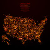 USA map low poly red fire. Abstract mash line and point USA map in flames style on dark background with an inscription. Map of a starry sky or space, consisting Royalty Free Stock Photo