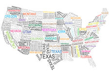 USA map made of words Royalty Free Stock Photo
