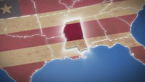 USA map, Mississippi pull out, all states available. Blue background. Stock footage stock footage