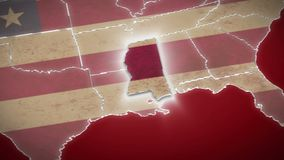 USA map, Mississippi pull out, all states available. Red background. Stock footage stock video