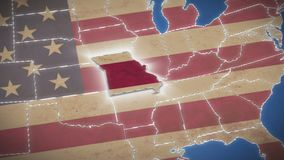 USA map, Missouri pull out, all states available. Blue background. Stock footage stock video footage