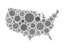 USA map mosaic of black circles Royalty Free Stock Photography