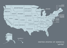 USA map with name of states Royalty Free Stock Photography