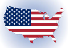 USA map with the national flag inside. High detailed United States of America map with the national flag inside. Stars and Stripes flag. Vector illustration Stock Photography