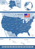 USA map with navigation icons Stock Photos
