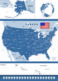 USA map with navigation icons Royalty Free Stock Photo
