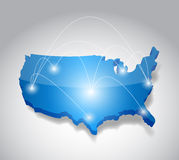 Usa map network connection concept illustration Royalty Free Stock Photos
