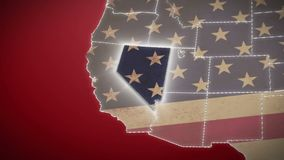 USA map, Nevada pull out, all states available. Red background. Stock footage stock footage