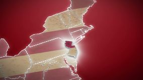USA map, New Jersey pull out, all states available. Red background. Stock footage stock video