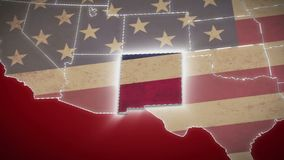 USA map, New Mexico pull out, all states available. Red background. Stock footage stock footage