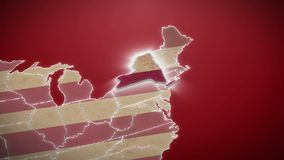USA map, New York pull out, all states available. Red background. Stock footage stock video