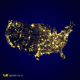 Usa map night. Light in  format Royalty Free Stock Photography