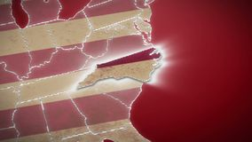 USA map, North Carolina pull out, all states available. Red background. Stock footage stock footage