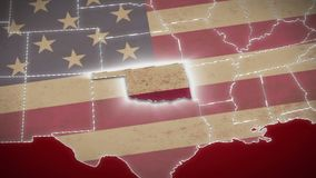 USA map, Oklahoma pull out, all states available. Red background. Stock footage stock video