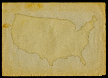 Usa map on old paper Royalty Free Stock Photography