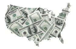 USA map with one hundred dollars background Stock Photos