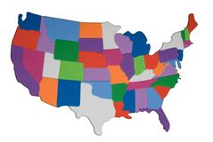 USA map outline with colored states photo illustration Royalty Free Stock Image