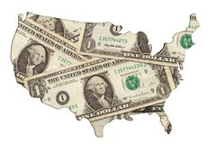 USA map outline with money photo illustration Royalty Free Stock Image