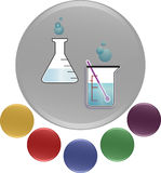 Laboratory equipments icon vector illustration in a creative 3D colorful design. Colorful vector illustration set of laboratory equipment (thermometer and Stock Images