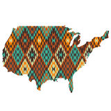 USA map patterned in native american texture Royalty Free Stock Image