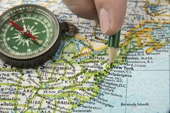 USA map with pencil pointing on various us city. royalty free stock photography
