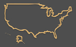 USA map in picture frame look with golden brown outline shape. Illustration Royalty Free Stock Photos