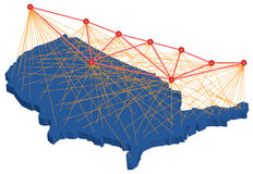USA map points and lines distribution Stock Photo